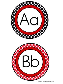 Word Wall Header Cards Black and Red Backgrounds with White Polka Dots (Ladybug)