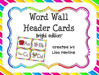 Word Wall Header Cards *Bright Edition*