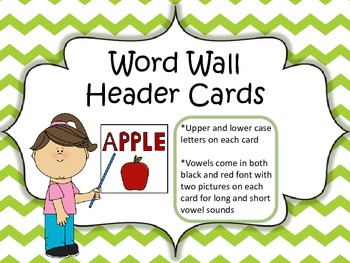 Word Wall Header Cards (Lime Green Chevron)