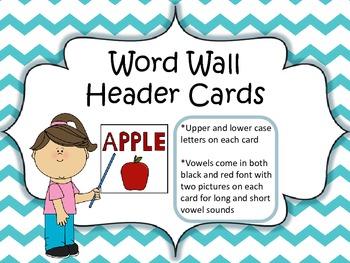 Word Wall Header Cards (Teal Chevron)