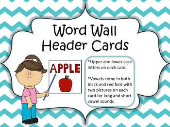 Word Wall Header Cards (Teal Chevron)
