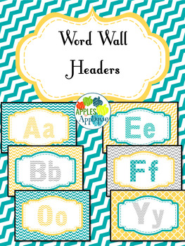 Letter Posters / Word Wall Posters in Yellow, Teal, and Gray