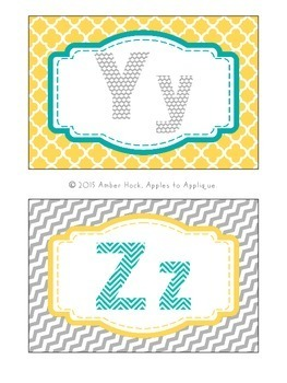 Alphabet Wall Cards / Word Wall Cards in Yellow, Teal, and Gray