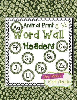 "Word Wall Header {Green Alligator} 5.5"" Round"