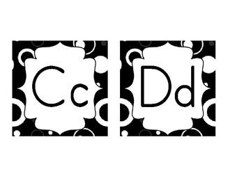 Word Wall Header Set / Alphabet Cards in Black & White