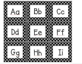 Word Wall Header and Cards - Small Black and White
