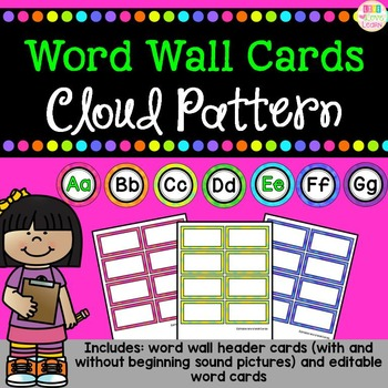 Word Wall Header and Editable Word Cards - Colorful Clouds Pattern