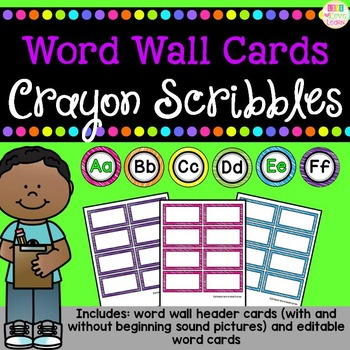 Word Wall Header and Editable Word Cards - Crayon Scribbles Pattern