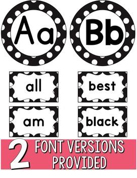 Word Wall Headers & 200 Words - Black & White Polka Dot