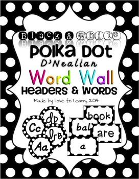Word Wall Headers & 200 Words - Black & White Polka Dot -