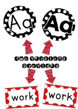 Word Wall Headers & 200 Words - Black, White & Red Polka Dot
