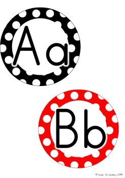 Word Wall Headers & 200 Words - Black, White & Red Polka Dot