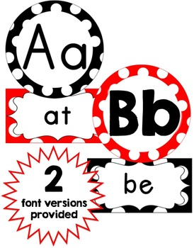 Word Wall Headers & 200 Words - Black, White & Red Polka Dot - Small Version