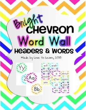 Word Wall Headers & 200 Words - Bright Chevron