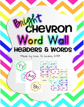 Word Wall Headers & 200 Words - Bright Chevron
