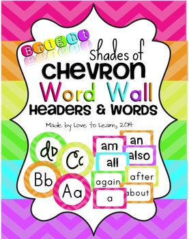 Word Wall Headers & 200 Words - Bright Shades of Chevron