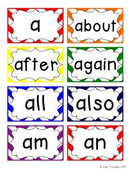 Word Wall Headers & 200 Words - Rainbow Chevron