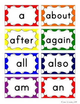 Word Wall Headers & 200 Words - Rainbow Polka Dot