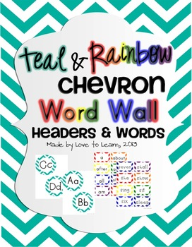 Word Wall Headers & 200 Words - Teal and Rainbow Chevron