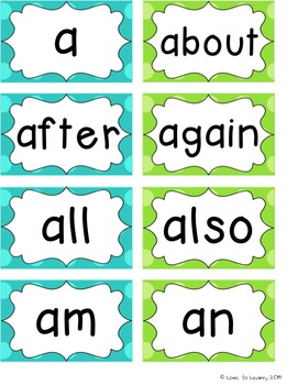 Word Wall Headers & 200 Words - Turquoise & Lime Polka Dot