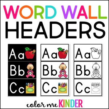 Word Wall Headers A - Z (3 Different Styles)