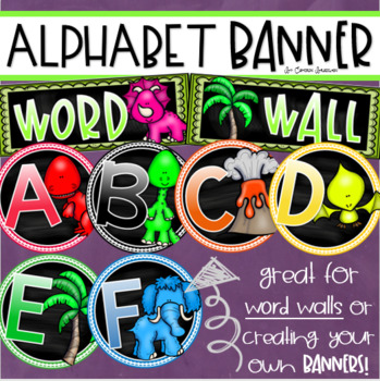 Word Wall Headers Alphabet Banner Posters Signs Dinosaur Theme
