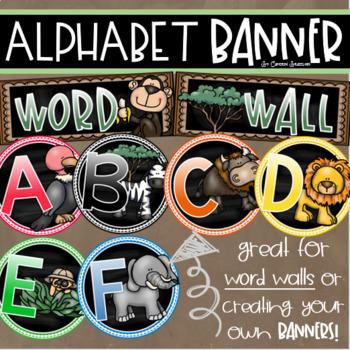 Word Wall Headers Alphabet Banner Posters Signs Jungle Safari Theme