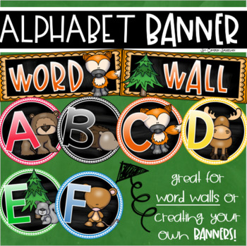 Word Wall Headers Alphabet Banner Posters Signs Woodland Animals Forest Theme
