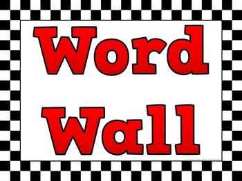 Word Wall Headers & Alphabet Labels: Checkered Flag