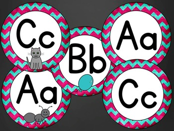 Word Wall Headers & Alphabet Labels: Pink and Turquoise Chevron