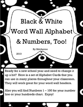 Black and White Word Wall Alphabet & Numbers