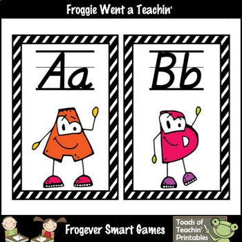 Word Wall Headers -- Alphabet with Eyes -- D'Nealian Font