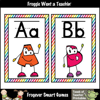 Word Wall Headers--Rainbow--Alphabet with Eyes--Primary Manuscript Font