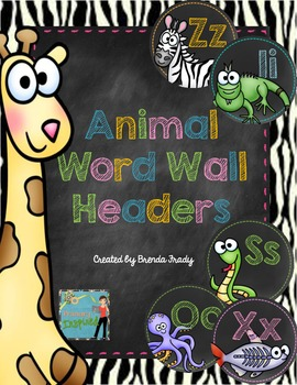 Word Wall Headers - Animal or Safari Theme!
