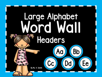 Large Word Wall Headers (Aqua Circles)