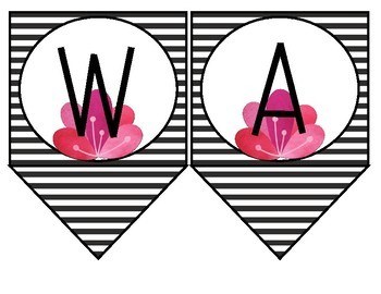 Word Wall Headers - Black & White Floral Watercolor