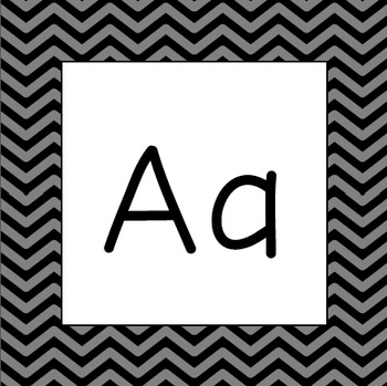 Word Wall Letters - Black and Gray Chevron