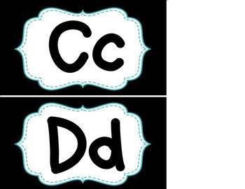 Word Wall Headers - Black and Teal Blue