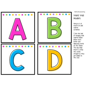 Word Wall Headers: Black and White Brights