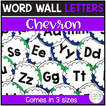 Word Wall Letters Blue, Green, & Gray Chevron Edition