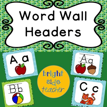 Word Wall Headers Blue and Green Spotty