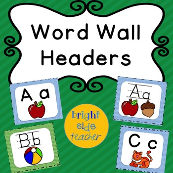 Word Wall Headers Blue and Green Stripes