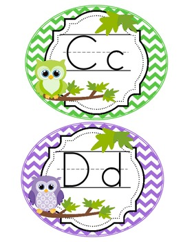 Word Wall Headers Bright Owl Chevron (blue, pink, green, purple, yellow)