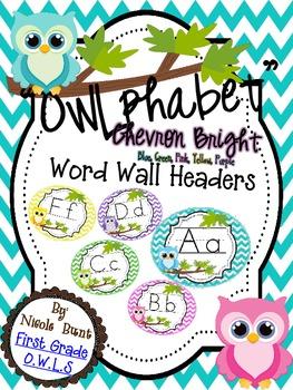 Word Wall Headers Bright Owl Chevron (blue, pink, green, purple, yellow)
