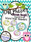 Word Wall Headers Bright Owl Chevron (blue, pink, green, p