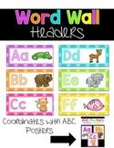 Word Wall Headers {Bright Polka Dots and Animals}