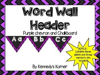 Word Wall Headers ~ Bright Purple and Black Chevron