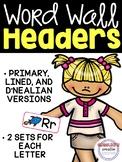 Word Wall Headers - Bright Word Wall Headers