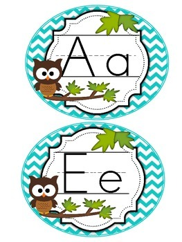 Word Wall Headers Brown Owl Chevron (blue, green, brown, aqua)