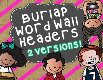 Word Wall Headers Burlap